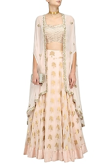 Pale Pink Floral Embroidered Lehenga, Blouse and  Cape Set by Chhavvi Aggarwal