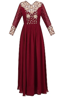 Maroon Floral Embroidered Anarkali Set by Chhavvi Aggarwal