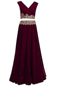 Wine dabka and zardozi embroidered crop top and skirt set