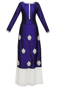 Blue embroidered motifs straight kurta and white palazzo pants set by Chhavvi Aggarwal