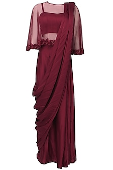 Oxblood satin sari with floral embroidered cape