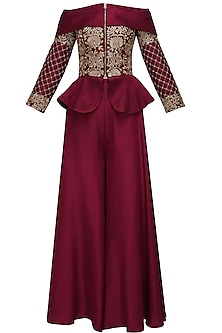 Maroon threadwork embroidered peplum jacket and palazo pants set
