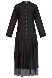 Black Embroidered Shirt Dress With Inner Slip