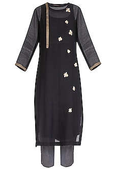Black Embroidered Kurta With Pants & Scarf