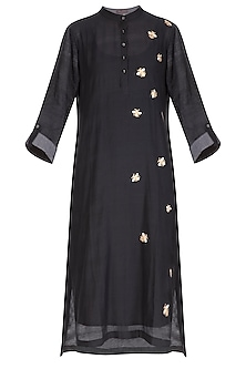 Black Embroidered Kurta With Scarf
