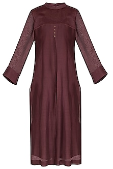 Maroon Embroidered Kurta With Scarf