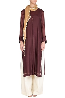 Maroon Embroidered Kurta With Scarf by Chillosophy