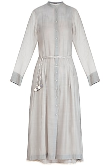 Grey Embroidered Dress With Inner