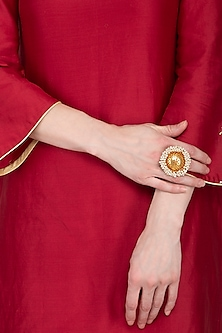 Gold Plated Oversized Pearl Ring by Chhavi's Jewels