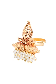 Gold Plated Pearl Ring by Chhavi's Jewels