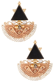 Gold Plated Black Triangular Stone Earrings by Chhavi's Jewels