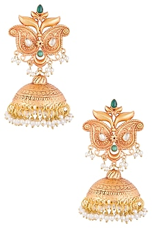 Gold Plated Pearl & Green Stone Earrings by Chhavi's Jewels