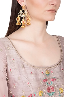 Gold Plated Red Stone Long Earrings by Chhavi's Jewels