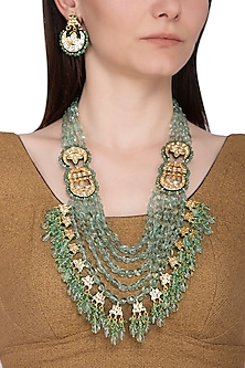 Gold Plated Green Beaded Layered Necklace Set