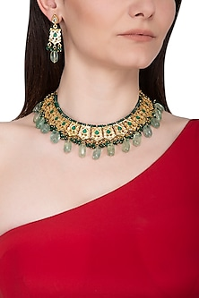 Gold Plated Green Beaded Necklace Set