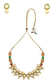 Gold Finish Kundan Stone and Pearl Necklace Set by Chhavi's Jewels