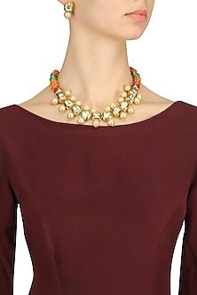 Gold Finish Kundan Stone and Pearl Necklace Set