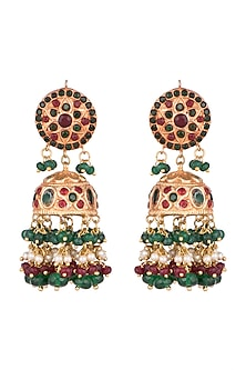 Gold Finish Emerald & Ruby Jhumka Earrings by Chhavi's Jewels