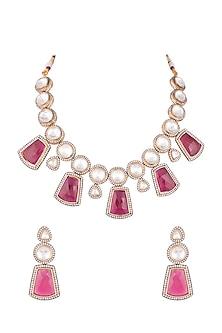 Gold Finish Kundan & Ruby Stones Choker Necklace Set by Chhavi's Jewels