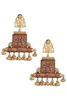 Gold Finish Textured Beads Earrings by Chhavi's Jewels