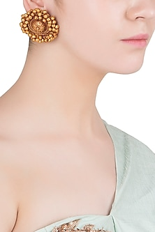 Gold Finish Textured Beads Stud Earrings