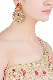 Gold Finish Textured Leaf Pattern and Beads Earrings