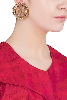 Gold Finish Textured Stud Earrings by Chhavi's Jewels