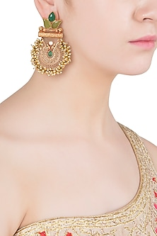 Gold Finish Textured Leaf Pattern, Green Stones and Beads Earrings