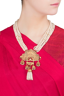 Gold Finish Textured Stones and Pearls Necklace by Chhavi's Jewels