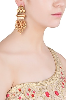 Gold Finish Textured Earrings