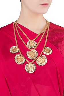 Gold Finish Coin and Pearls Multiple Line Necklace by Chhavi's Jewels