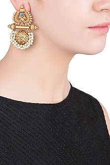 Gold Finish Textured Pearl Earrings