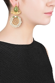 Gold Finish Textured Green Stone and Pearl Earrings by Chhavi's Jewels