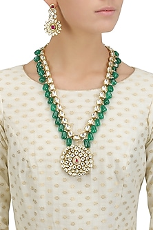 Gold Finish Kundan and Emerald Stone Necklace Set