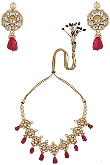 Gold Finish Kundan Stone and Red Stone Necklace Set by Chhavi's Jewels