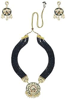 Gold Finish Enamel Detail Blue Beads Multiple String Necklace Set by Chhavi's Jewels