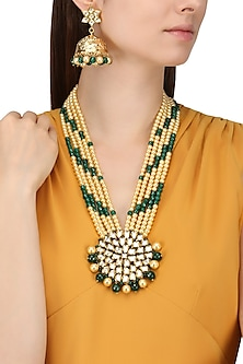 Gold Finish Kundan Stone and Green Multiple String Necklace Set