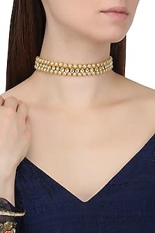 Gold Finish Kundan and Pearl Choker Necklace by Chhavi's Jewels