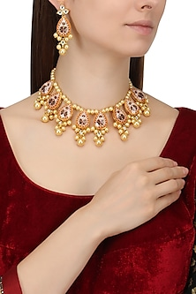 Gold Finish Enamel Detail and Pearl Necklace Set