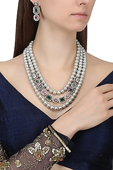 Gold Finish Pearl and Semi Precious Stones Necklace Set by Chhavi's Jewels