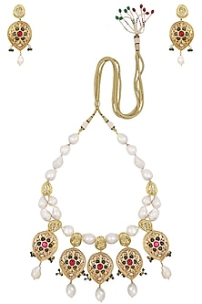 Gold Finish Textured Red and Green Stone Necklace Set by Chhavi's Jewels