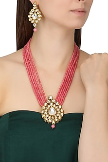 Gold Finish Kundan and Pink Multiple String Beads Necklace Set