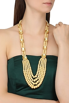 Gold Finish Pearl Multiple String Necklace