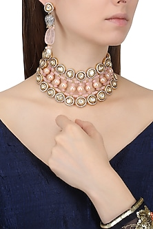 Gold Finish Zircons and Pearl Necklace Set