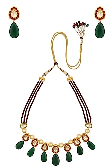 Ruby, Kundan and Pearl Multi String Necklace Set by Chhavi's Jewels