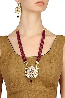 Gold Finish Kundan and Ruby Stone Three String Long Necklace Set