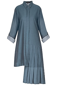 Blue asymmetric shirt tunic