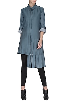 BLUE ASYMMETRIC SHIRT TUNIC by CHILLOSOPHY
