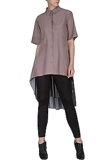 Beige high-low shirt tunic by Chillosophy