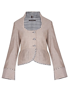 Beige pleats crop jacket